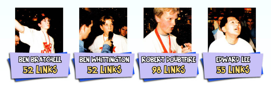 It should be noted that Ben Whittington scored an incredible 109 links in the semi-final stage, but couldn't manage a repeat-performance in the final.