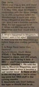 Taken from the letters pages in issue 36 of Mean Machines Sega magazine.